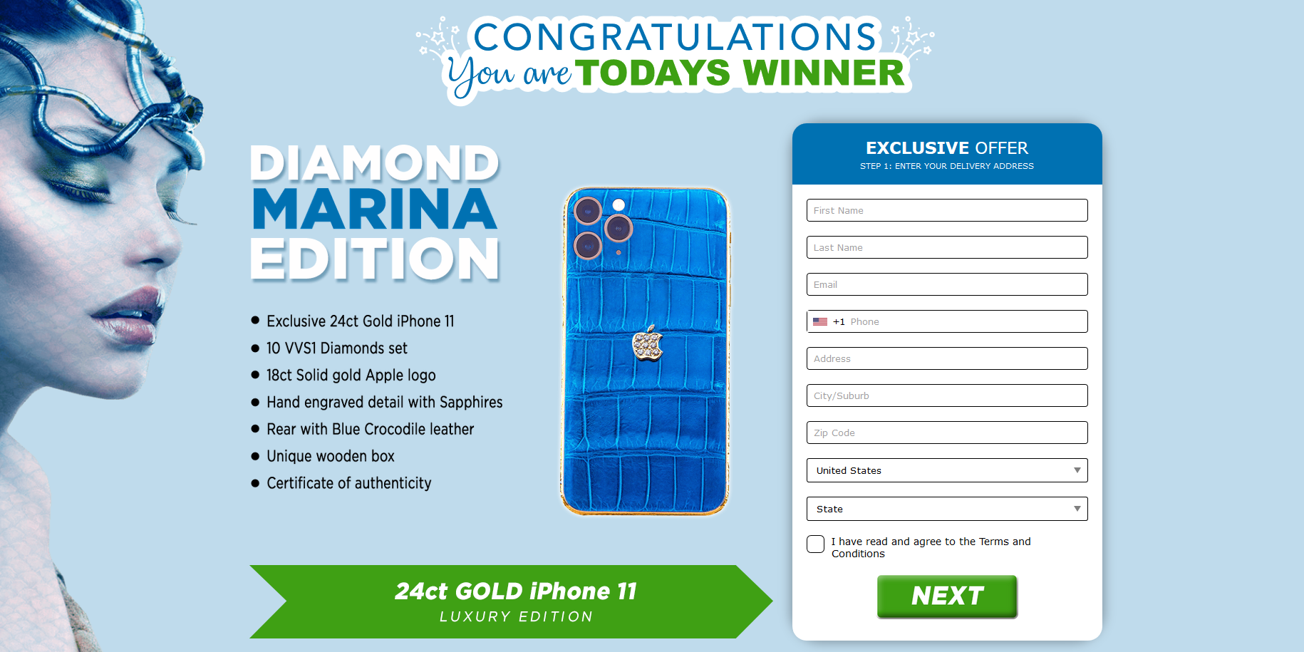 Just Prizes - 24ct Gold iPhone 11 (US)